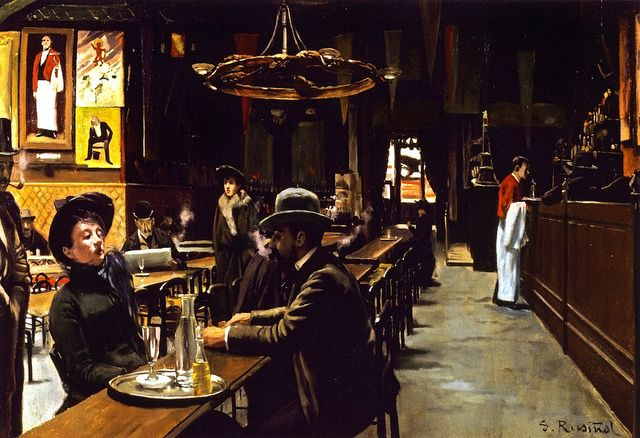 Santiago Rusinol, (1861-1931) - The Cafe Montmartre (Museo de Montserrat, Spain), 1890 - Santiago Rusiñol i Prats was a Catalan post-impressionist/symbolist painter, poet, and playwright. He influenced Pablo Picasso as a modern artist, and also left a lot of modernist buildings in Sitges, a town in Catalonia very influenced by that artist.