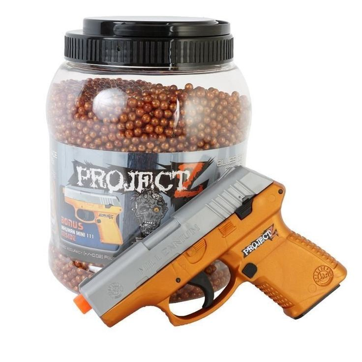 A massive container of 14,000Ct 0.12g 6MM Metalic Orange BBs. Muzzle Velocity: ~180FPS (Measured with 0.12g BBs). Includes a great spring pistol. Power: Spring Powered Single Shot. HTML Editor - Full Version.   eBay!