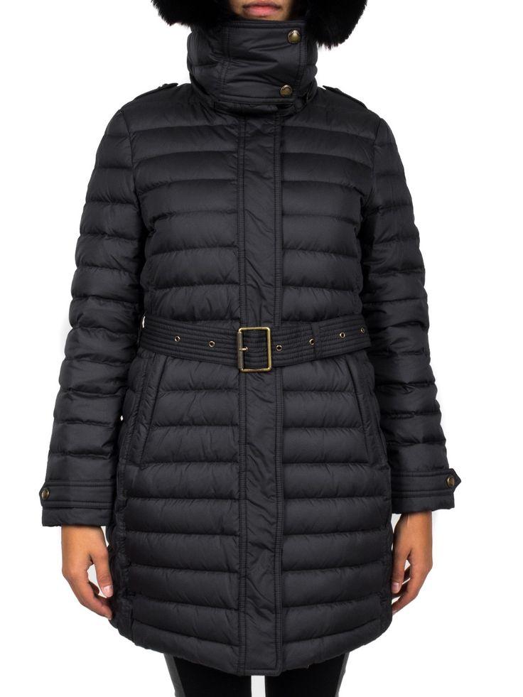 BURBERRY - Piumino con cappuccio bordo pelliccia - Nero - Elsa-boutique.it #Burberry <3