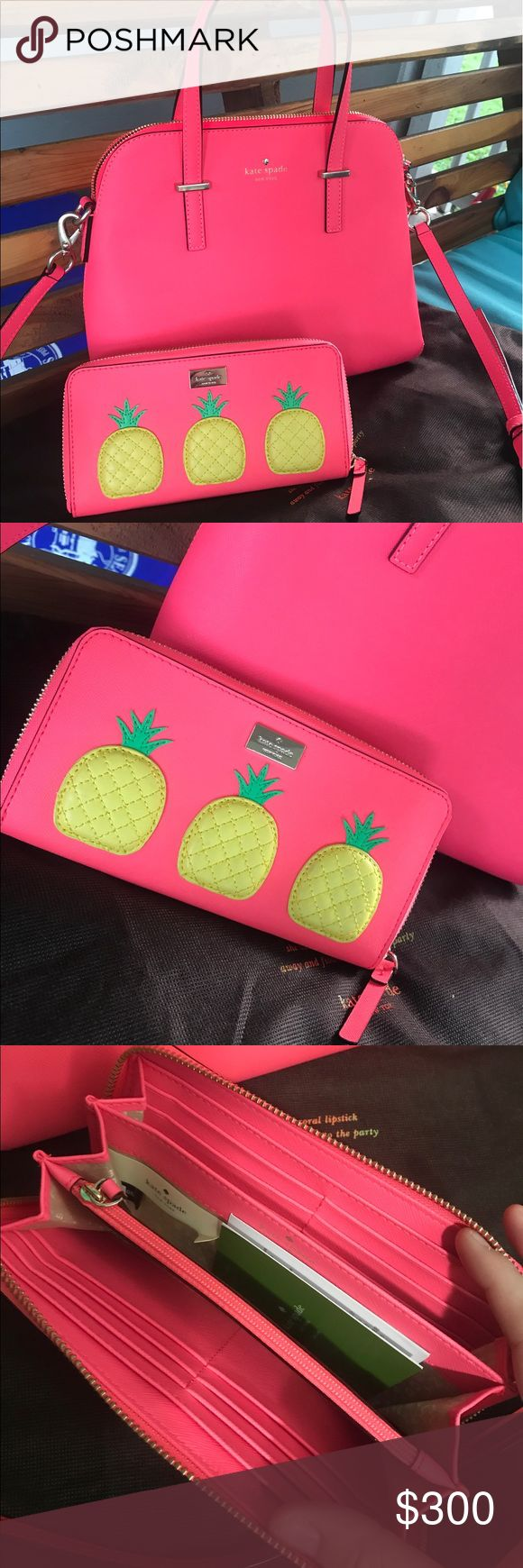 Kate Spade flo geranium maise and Wallet Kate Spade flo geranium maise handbag. Cross body strap and dust bag included. New without tags. And Neda pineapple wallet. Brand new with tags. Both flo geranium color. Bright neon pink! I will not separate. Rare color of the maise handbag! Thanks for looking kate spade Bags Shoulder Bags