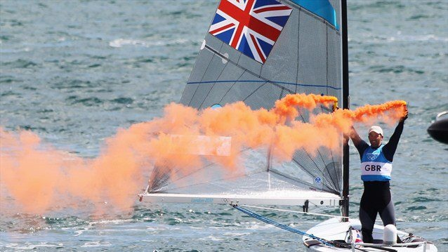 #london2012 Ben Ainslie of Great Britain celebrates overall victory after competing in the men's Finn Sailing medal race on Day 9 of the London 2012 Olympic Games at Weymouth & Portland (Getty Images)