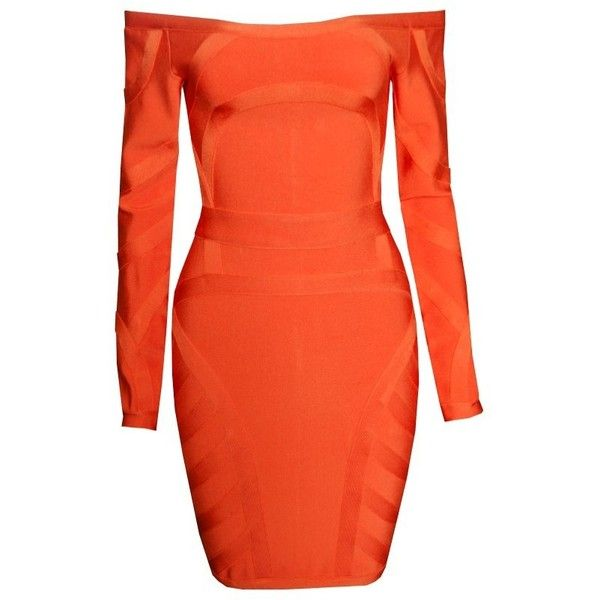 Orange Crush Bodycon Dress ($178) ❤ liked on Polyvore featuring dresses, orange bodycon dress, bodycon dress, body con dress, orange dress and body conscious dress