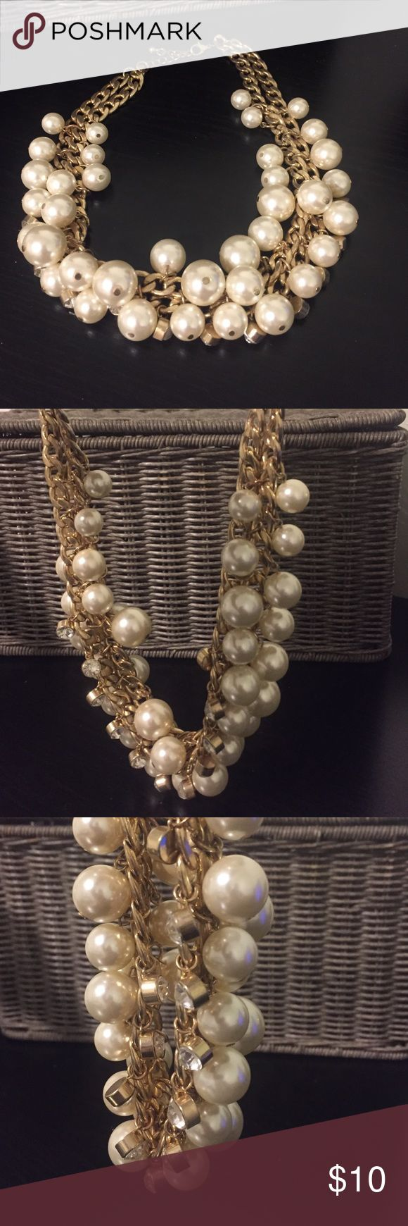 Gold Necklace Gold Necklace, pearls & Diamonds, chunky chain, has band to make longer/shorter Jewelry Necklaces