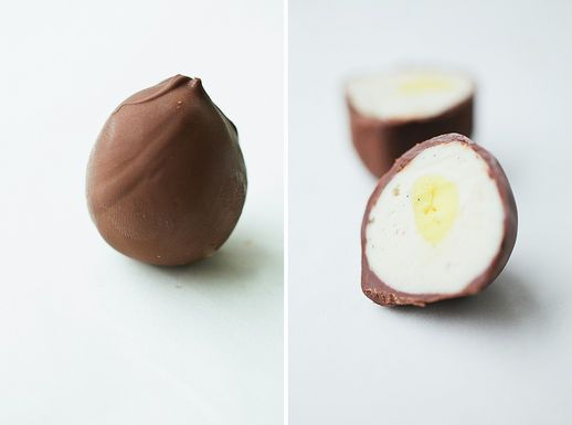Homemade Cadbury Creme Eggs.  Made these this Easter. Had to hide them from my husband so that he wouldn't eat them all! I prefer using melting chocolate wafers instead of chocolate chips.