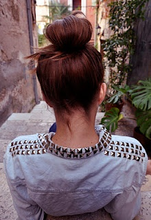 :studded shirt and hair