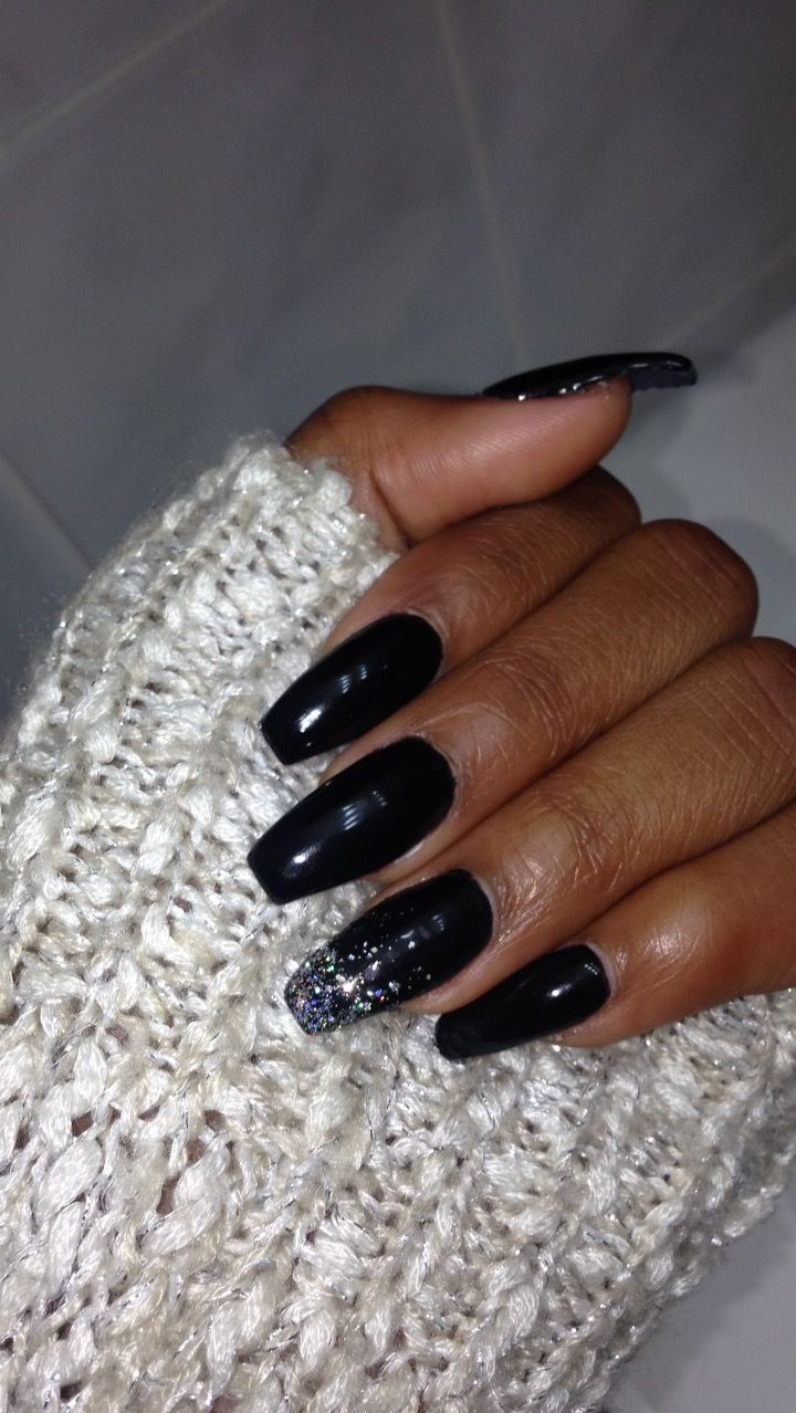 Black Coffin Acrylic Nails With Silver And Holo Glitter Accent Nail Glitter Nails Acrylic Acrylic Nails Coffin Glitter Acrylic Nails Glitter Ombre