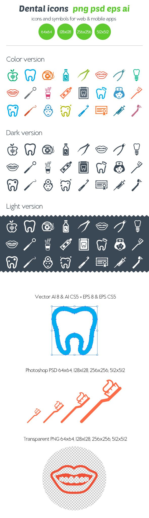 Dental icons by Ottoson , via Behance