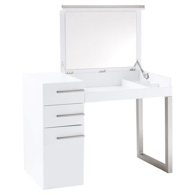 The Carter Dressing Table Has A High Gloss Lacquer Finish. The Mirror Folds  Down Into The Surface When Not Required.