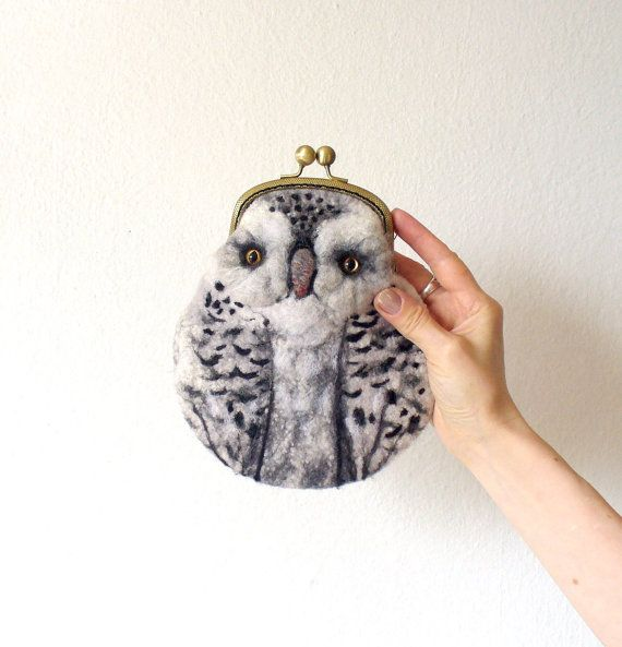 snowy OWL Wet Felted  coin purse Ready to Ship with bag frame metal closure Handmade  gift for her under 50 USD on Etsy, Sold