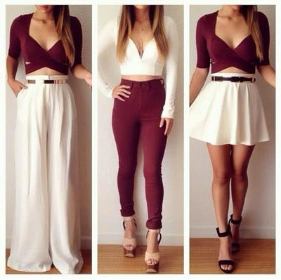 I love the 3 different looks with the same idea colors & sex appeal. Most of all the first with wide leg slacks. Very classy & can wear at any age. This girl should win! & I know fashion!