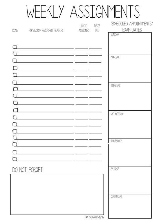 Weekly Calendar Homework Assignments : Best weekly calendar ideas on pinterest