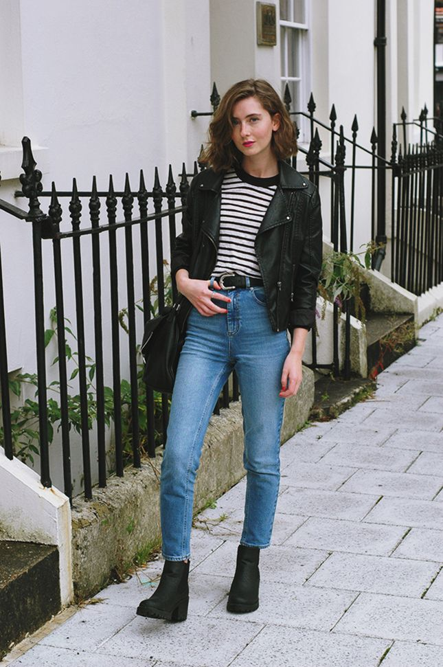 25 Ways to Make Mom Jeans Look Modern - stripe t-shirt _ mom jeans, a cropped leather moto jacket and chunky ankle boots | StyleCaster