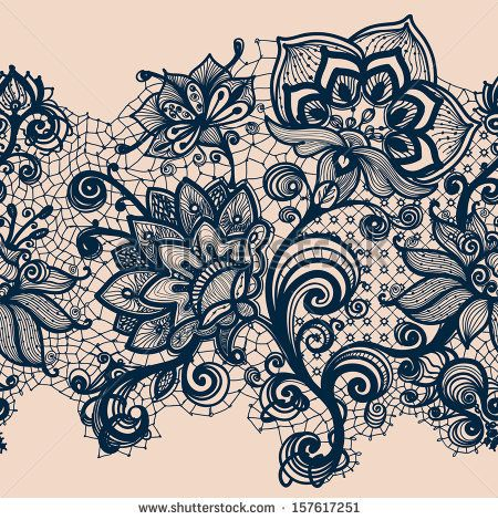 Abstract Lace Ribbon Seamless Pattern. Template frame design for card. Lace Doily. Can be used for packaging, invitations, and template. by...