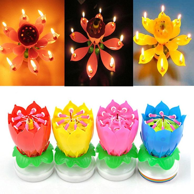 What a fun surprise for a special Happy Birthday! This Lotus Candle plays music and opens up to 14 candles and spins...how unique! Comes in 5 colors find it here: http://amzn.to/2hCSVD6