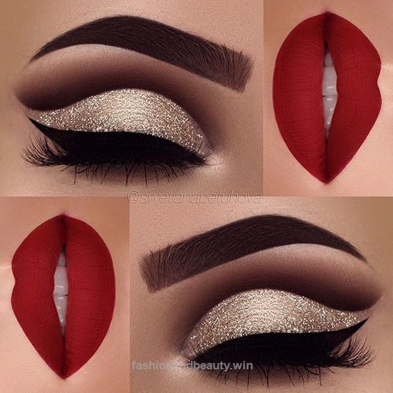 Excellent Red matte lips and gold glitter eye makeup 2018 – LadyStyle The post Red matte lips and gold glitter eye makeup 2018 – LadyStyle… appeared first on Fashion .