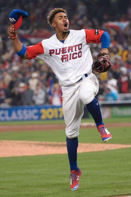 March 17: Puerto Rico infielder Francisco Lindor celebrates on the field following a 6-5 win over the U.S. in the World Baseball Classic at Petco Park.