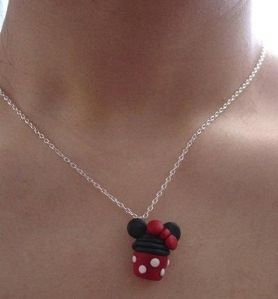 Disney Cupcake Pendent Necklace Minnie mouse by MajesticEncounters
