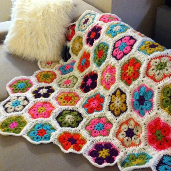 Crocheted African flower blanket