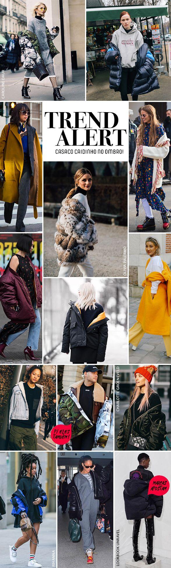 A mais nova tendência de 2017 e truque de styling-febre do street style: casaco caído no ombro!