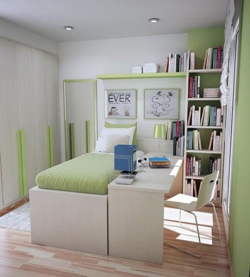Green Theme Decoration for Small Teenage Bedroom Ideas