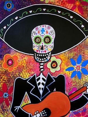 Mariachi Dia de los Muertos ...Original painting for auction..ending soon.Visit EBAY, search for PRISARTS for new and original paintings for sale
