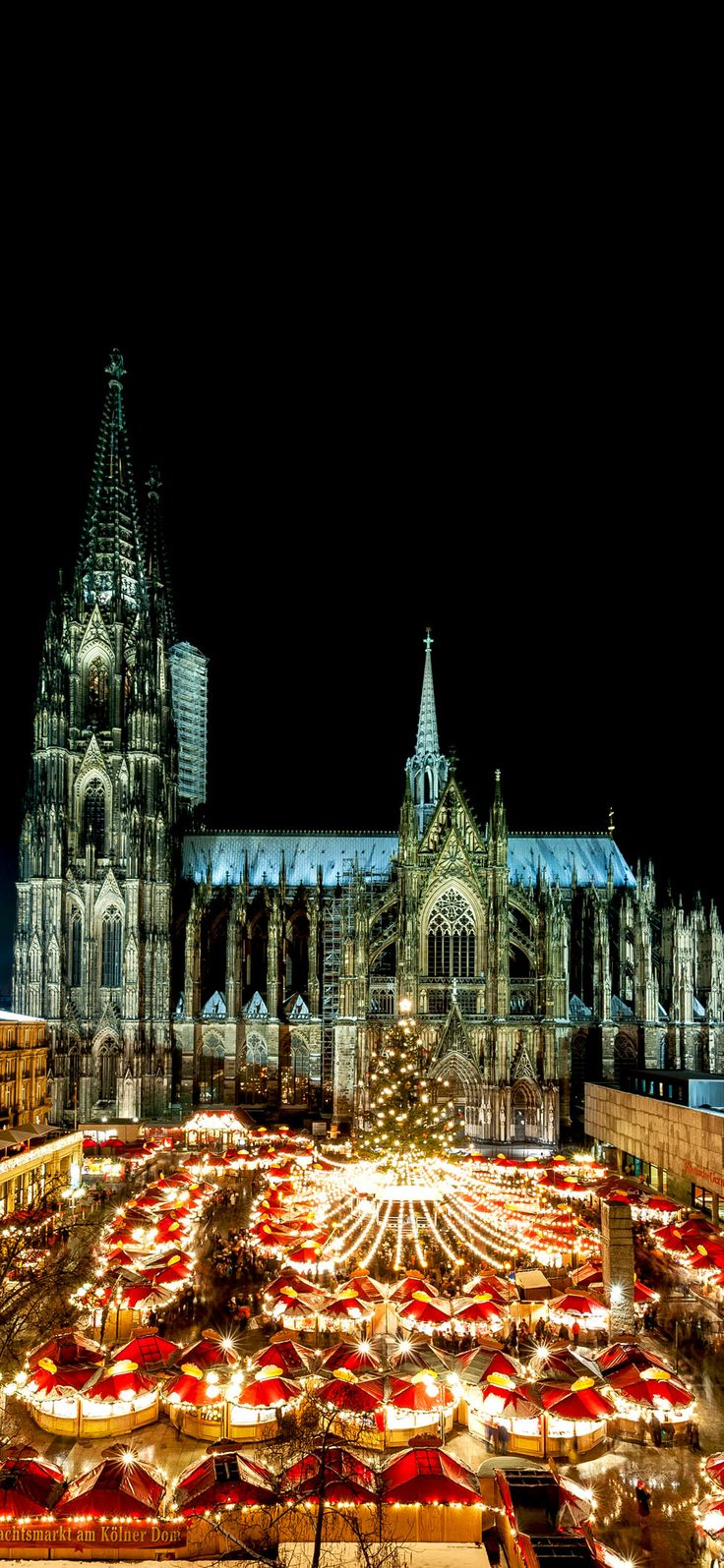 Cologne Christmas Market at night with Cathedral in the back.