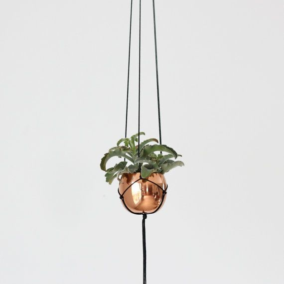Small Vintage Copper Cup Hanging Planter Modern Macrame