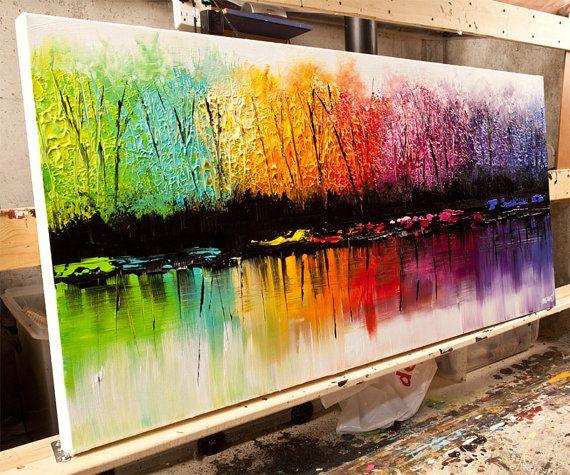 Farbenfrohe Landschaft auf Bestellung malen.  Das Gemälde erstelle ich für Sie werden ähnlich dem, was Sie hier sehen, dass ich bereits verkauft haben. Ich werde Spachtel verwenden, um eine bunte, lebendige Textur zu erstellen. Das Gemälde wird erstellt und von mir, der Künstler unterschrieben. Die Gemälde werden fertig zum Aufhängen. Es dauert mir 5 Werktage, um es zu schaffen.  Titel des Bildes: Change of Seasons Dimension: 48 x 24 Medium: Acryl auf verpackte Keilrahmen   Alle meine Bilder…