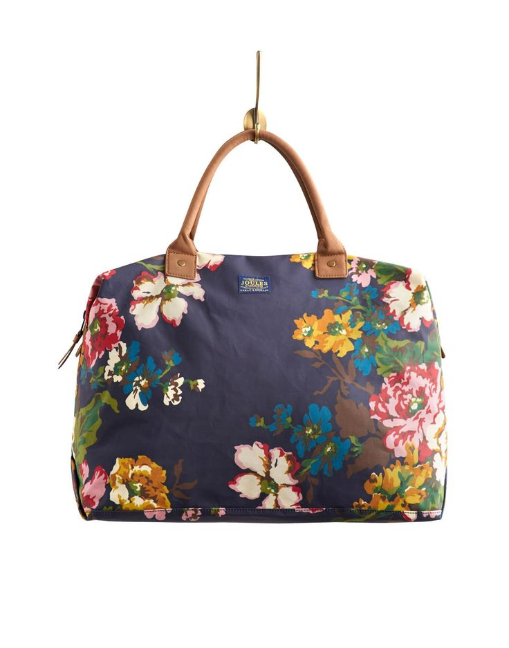 Joules Womens Canvas Overnight Bag, Navy Floral. Throw your ...