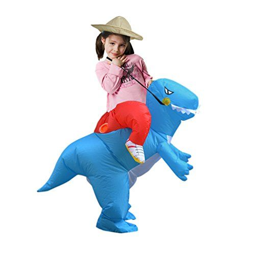 Inflatable Blue Dinosaur Costume Fan Carry Me Children Birthday Party