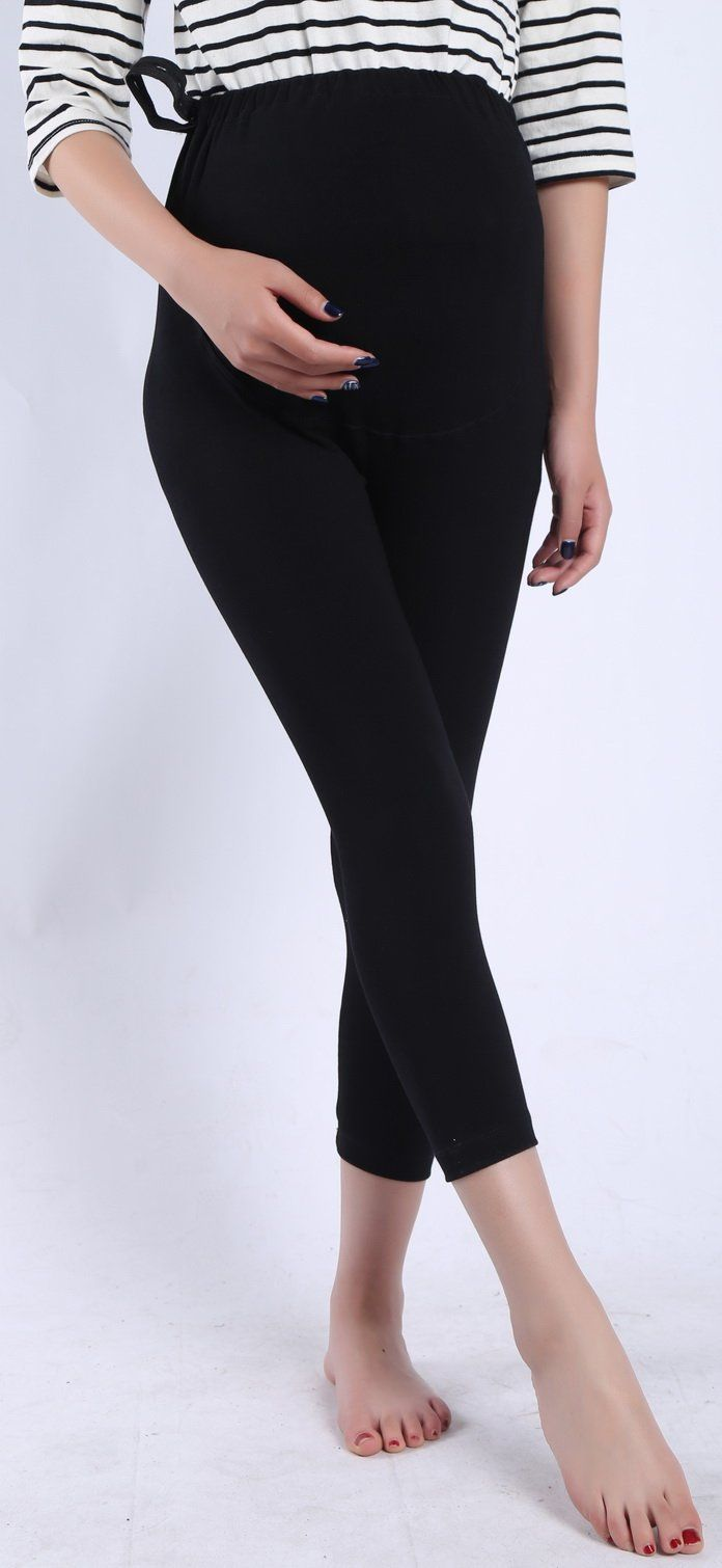 0c0073ccda5e1e pregnancy workout - Foucome Spring Summer Maternity Capri Pants Stretch  Elastic Band Adjustable Cotton Leggings For Women Black US S Label L ** To  see ...