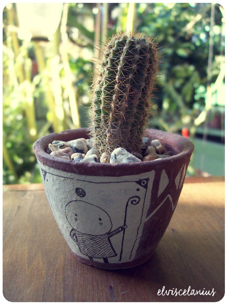 Drawing of Eu in a cactus pot