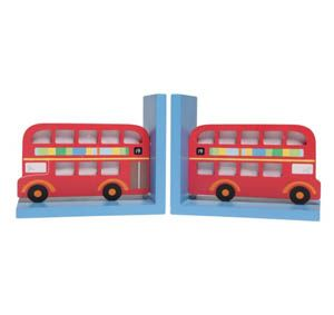 Wooden Red London Bus Bookends