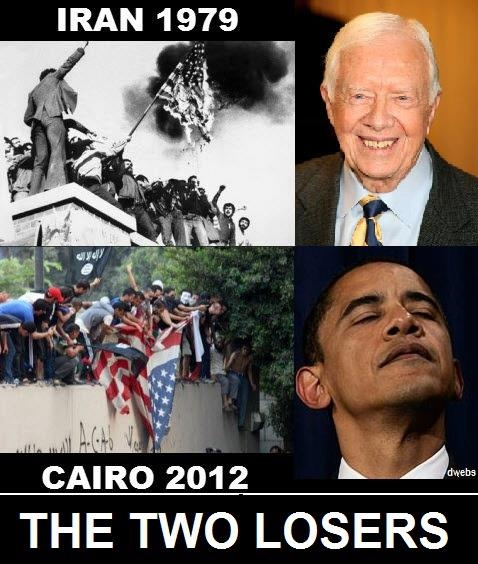 OBAMA CARTOONS: Conservative Political Humor: Obama and Carter: Two Middle East Losers