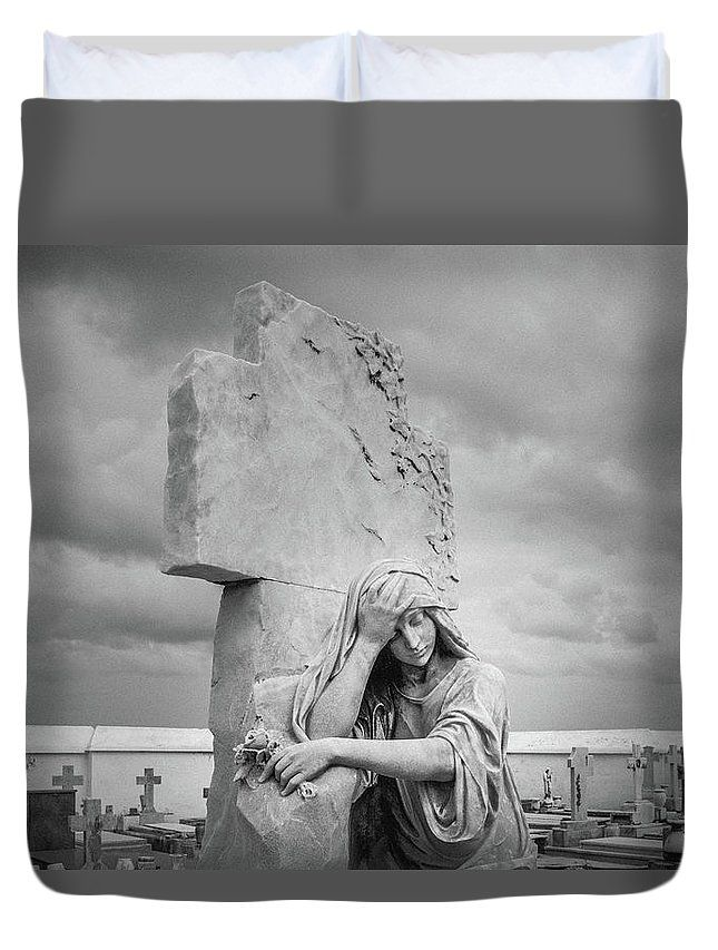 """One Must Not Be Defeated II"" Black and white photographic image from a cemetery in Old San Juan, Puerto Rico by Valerie Rosen Photography on a duvet cover for your bedroom."
