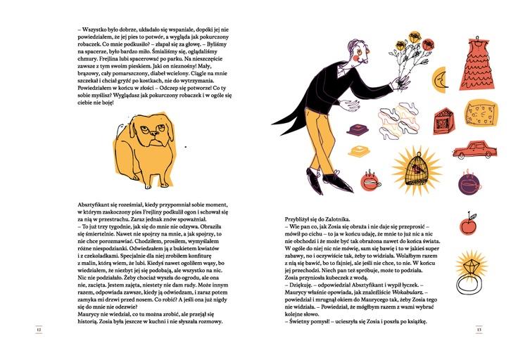"""ilustracja do książki """"Wokabularz"""". Tu Absztyfikant próbuje zdobyć serce pewnej damy"""