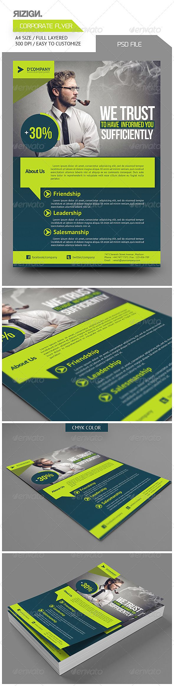Corporate Flyer #GraphicRiver Corporate Flyer PSD File Easy To Customize All Text Editable With Text Tool A4 Userguide available in package download Images not include Image Link : photodune /item/smoke-a-pipe/4664996 Font Used : Bebas Neue PT Sans Social Logos Download link font available in package download Contact Me Email : rizign@gmail Facebook : Rizign Twitter : Riz Ritzkie Follow For Updates Thanks For Purchasing Created: 7November13