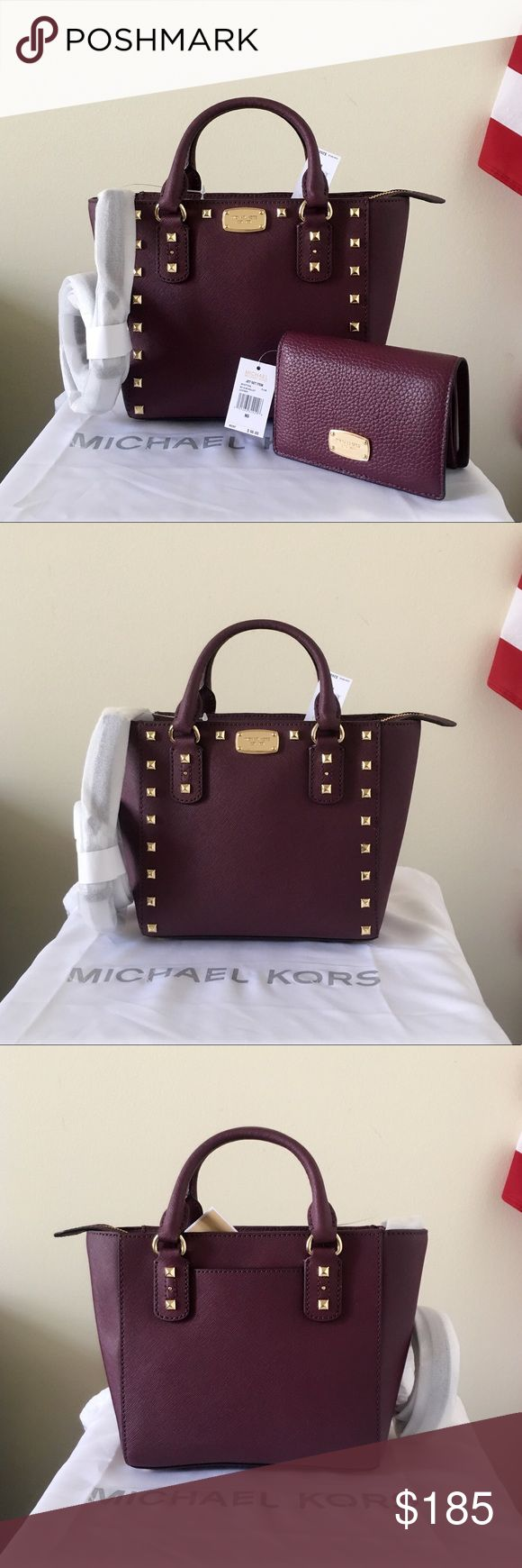NWT Michael Kors Sandrine Stud Small Satchel Set Super cute set! Plum color with gold detailing! New with tags. Authentic!  Both purse and wallet are new with tags, the Sandrine Stud Satchel is in small size, has a long strap.  Measurement: 10*7.5*4 inch  Dust bag and paper shopping bag are included Michael Kors Bags Satchels