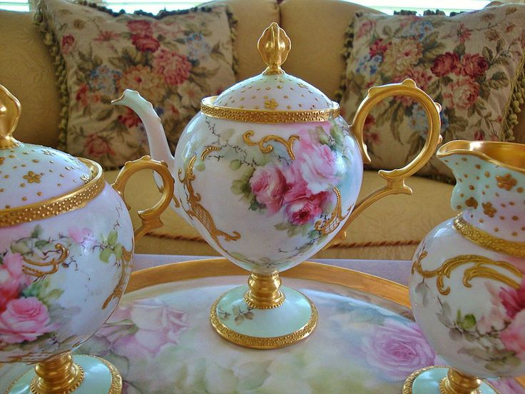 Image detail for -Limoges France Hand Painted Antique Tea Set ~Roses~ Artist signed and ...