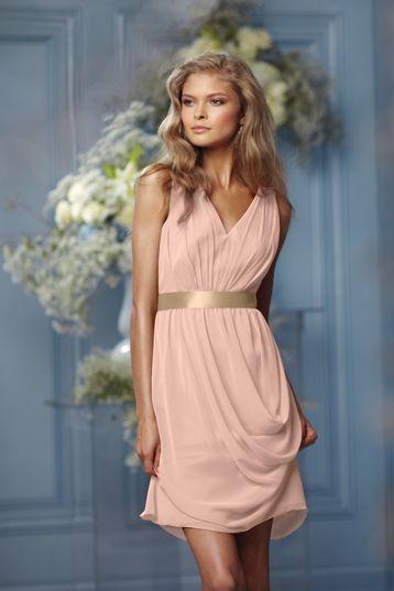 Wtoo 483 Bridesmaid Dress in peach and cafe gold | Weddington Way $192