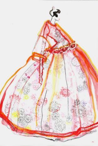 Molly Goddard's crochet dress illustration