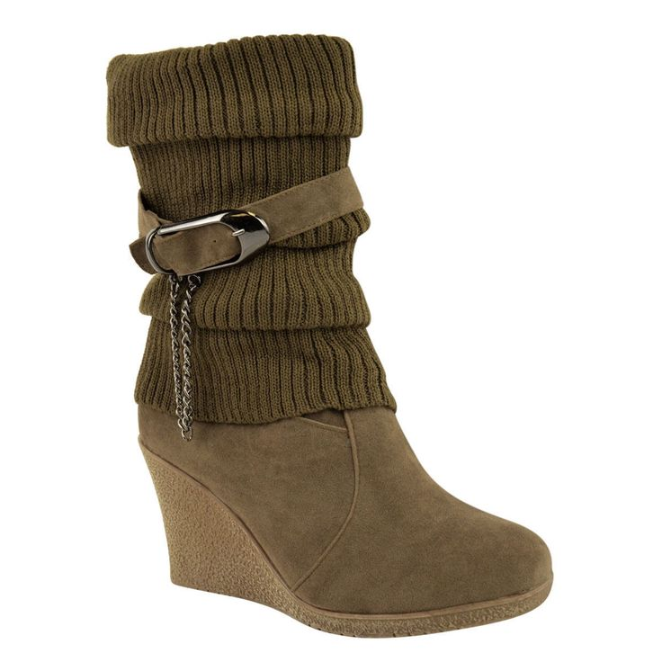 Women's Stylish Folded Buckle Mid Wedge Heels Inside Round Toe Pull On Knitted Ankle Boots