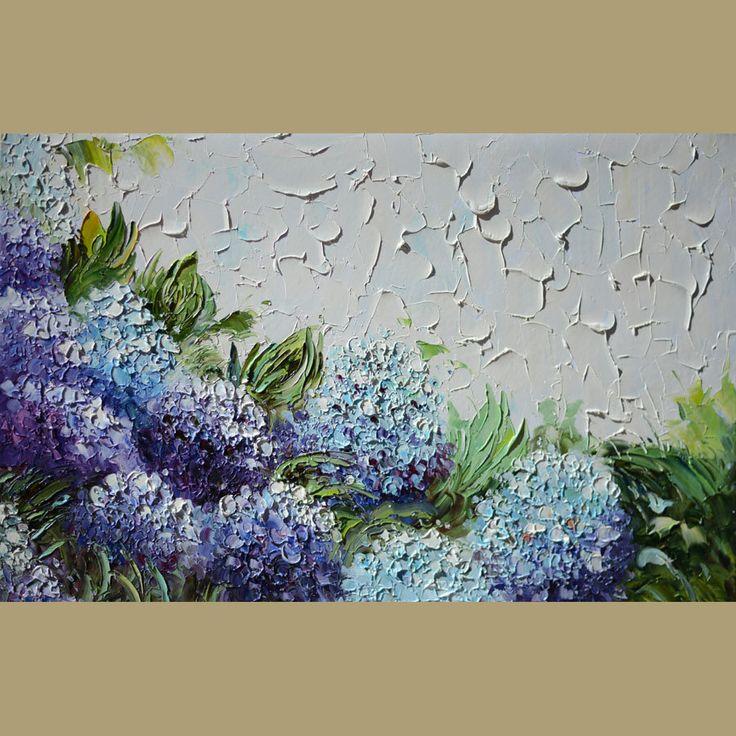 ORIGINAL Oil Painting  Ill wait 23 x 36 Flowers Palette Knife White Bright Joy Purple Blue Hydrangea Textured ART By MARCHELLA. $335.00, via Etsy.
