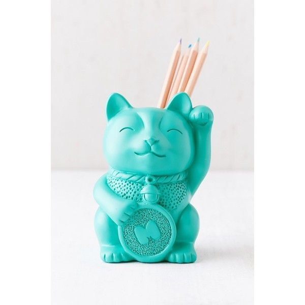 Lucky Cat Pencil Cup (20 CAD) ❤ liked on Polyvore featuring home, home decor, office accessories, cat pencils, cat pen, cat pencil holder and urban outfitters