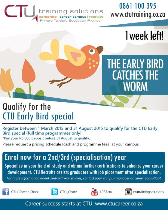 Current CTU students: Only 1 week left to qualify for the Early Bird special. Specialise in your career & register for a 2nd/3rd year. Contact your campus manager for more information.