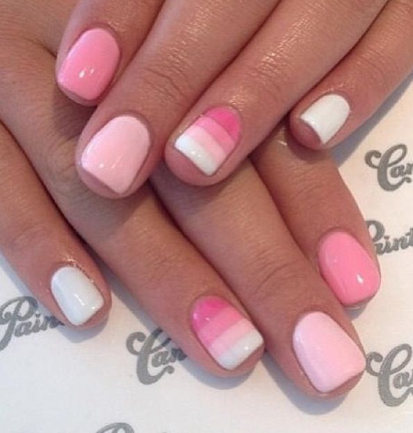 Pink nails with ombre colors.