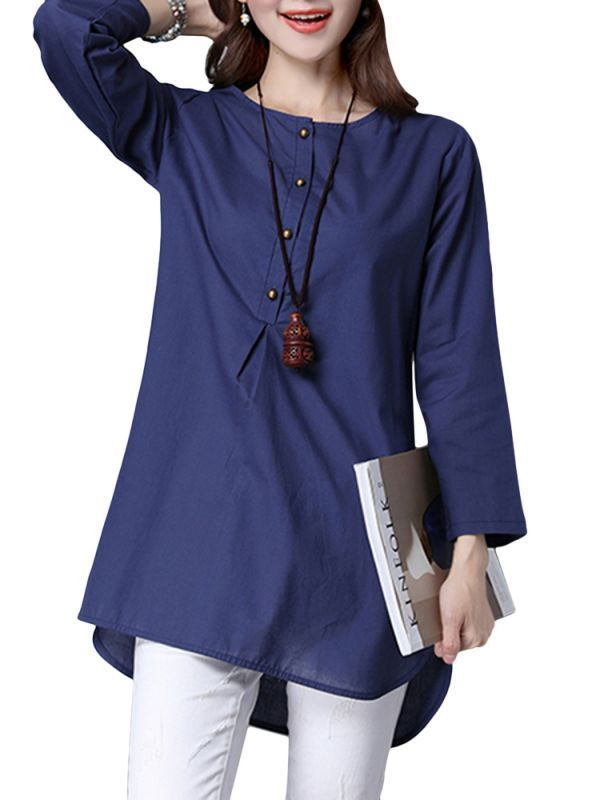 Vintage Women Solid Color Long Sleeve Loose Cotton Blouse Quality 8217 S Blouses Hamp M Womens Mamp Co Woman