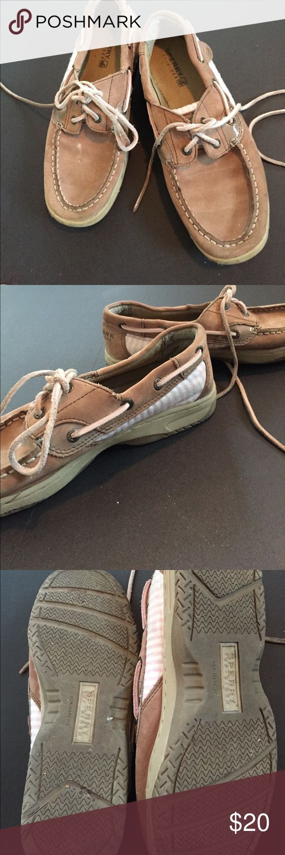 Pink and White Stripped Sperry Top Sider Shoes Good used condition. Some markings in right shoe (pictured). Sole is in great condition. Men's 4.5. Women's 7 Sperry Top-Sider Shoes Flats & Loafers