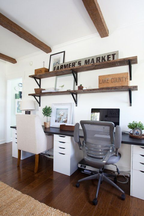 Home Office | Ikea Desk | Farmhouse | Cottage Style | Decorating Alex base  cabinet and