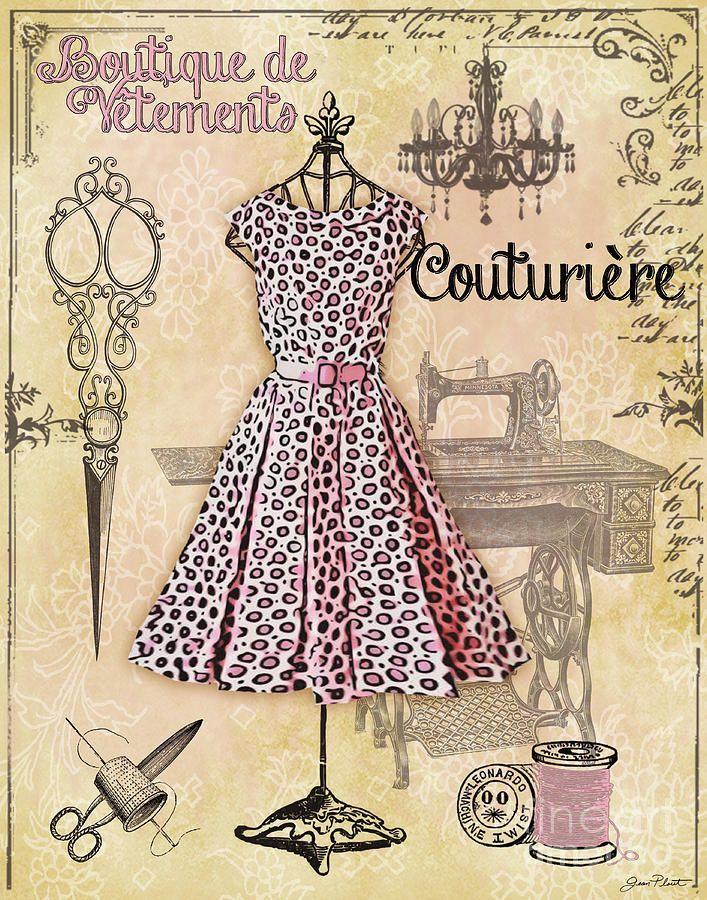 French Dress Shop-a Digital Art - French Dress Shop-a Fine Art Print